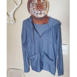 blue active gym zip up zipper hoodie jacket